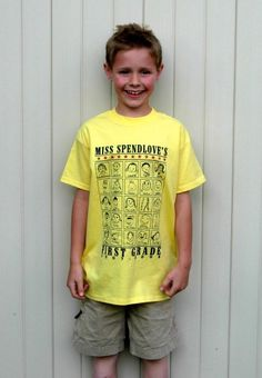 Classrooom t-shirts with each of the kids self portrait only costs 7.00 per student to make and would be an AWESOME keepsake...would love to see the class wear them for field day or on field trips!