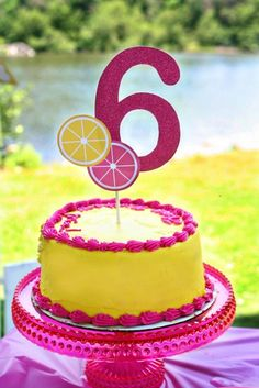 Lemonade Party Custom Cake Topper - Sweet Pink Lemonade Collection from Tea Party Designs Limonade Rose, Spa Party Decorations, 4th Birthday Parties, Birthday Ideas, 2nd Birthday, Kid Parties, Pink Lemonade Cake, Lemon Party, Custom Cake Toppers