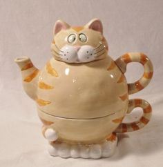Tabby Cat Tea for One Teapot with Cup Set