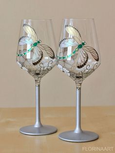 Check out this item in my Etsy shop https://www.etsy.com/listing/227253735/dragonfly-wedding-glasses