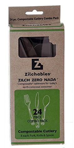 WNA ZCMB24AM Zilchables Compostable Vine Combo Packed Fork/Knife/Spoon Brown