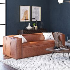 Bradford Leather Sofa - The epitome of sophistication is reached with the Bradford Leather Sofa. What this sofa offers in style and elegance, it also offers in immense . Masculine Living Rooms, Navy Living Rooms, New Living Room, Living Room Sofa, Manly Living Room, Masculine Apartment, Modern Living, Masculine Interior, Masculine Home Decor