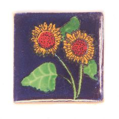 They have a long tradition dating back to the Design: 'Gabriella' - rustic sunflower design in dark blue, yellow, orange & green Origin: Handmade glazed tile made in the colonial city of San Miguel de Allende decorated using the silk screen process. Mexican Ceramics, Sunflower Design, Hand Painted Ceramics, Tiles, Handmade, Painting, Ebay, Garden, Image