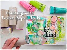 Toilet Paper Roll Abstract Painting Technique for Beginners ♡ Maremi's S...
