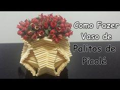 Como Fazer um Vaso com Palitos de Picolé - YouTube