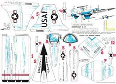 J. Ossorio Papercraft: Papercraft recortable de un caza de combate americ... Paper Airplane Models, Model Airplanes, Paper Models, Paper Planes, Make A Plane, Papercraft Anime, Prince Drawing, Origami, Paper Aircraft