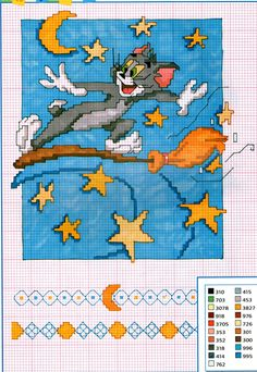 Tom flying a broom Counted Cross Stitch Patterns, Cross Stitch Charts, Cross Stitch Designs, Cross Stitch Embroidery, Stitch Character, Kid Character, Crochet Cross, Filet Crochet Charts, Tom Et Jerry
