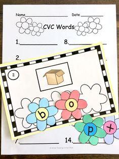 Spring Build CVC Words Kindergarten Centers, Kindergarten Reading, Literacy Centers, Spring Activities, Classroom Activities, April Preschool, Word Work Stations, Spring Words, Handwriting Activities