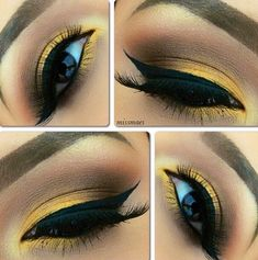 Yellow eyeshadow. This is really dark, and I will probably not do for myself, but it is really pretty!