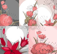 Hand-drawn ink flowers vector