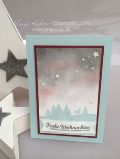 handmade winter/Christmas card from  Blog Ideen Anleitungen Angebote  ... sponged impressionistic  winter sunset sky ... landscaped silhouette stamped in baby blue along the bottom ... luv how immense the sky looks ... Stampin' Up!