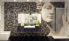 Design for Bathroom Tile Stickers : Mosaic Tile Bathroom Feature Wall. Bathroom,Design for,Design for Bathroom,Design for Tile Stickers,Tile Stickers White Mosaic Tiles, Mosaic Wall Tiles, Mosaic Bathroom, Bathroom Tile Designs, Mosaic Designs, Tiled Bathrooms, Tile Art, Mosaic Art, Bathroom Ideas