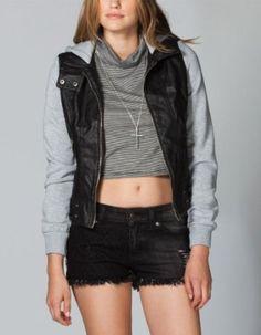 FULL TILT Fleece/Faux Leather Womens Hooded Jacket,