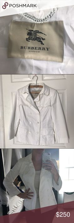 Authentic Burberry blazer, white This authentic Burberry player with white leather piping is a classy staple for any wardrobe. Light enough to wear year round, it's easily layered as well. Comfortable for movement. Needs a dry clean and press and it will be a perfect addition! $250 PM or $200 PP Burberry Jackets & Coats Blazers