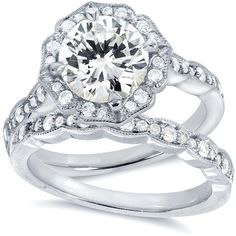 Annello 14k White Gold Round-cut Moissanite and 2/5ct TDW Diamond... ($1,575) ❤ liked on Polyvore featuring jewelry, rings, white, wedding rings, vintage wedding rings, 14k diamond ring, antique diamond ring and round diamond ring