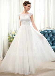 Vestidos princesa/ Formato A Decote redondo Longos Tule Charmeuse Renda Vestido de noiva com Bordado fecho de correr Lantejoulas (002052653)
