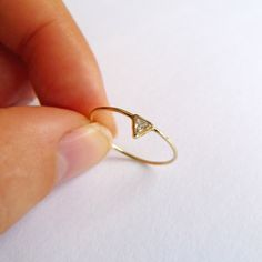 Diamond Engagement Ring - Triangle Diamond Ring - 14k Gold. $260.00, via Etsy.