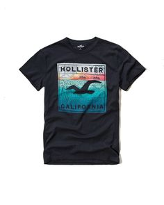 Hollister Mens Graphic Tee T Shirt Black