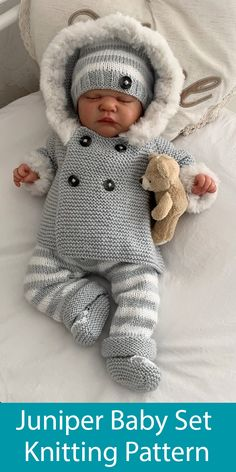 Knitting Pattern for Juniper Baby Set with jacket, pants, hat and booties - Matching hooded double breasted modern jacket, pants, hat and booties for babies or dolls. Designed by UniqueKnitByCaroline.