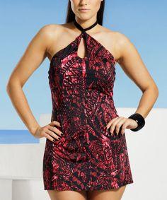 a65dec761 Loving this Red  amp  Black Snake Keyhole Halter Swimdress - Women  amp   Plus on