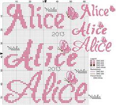 Alice nome punto croce
