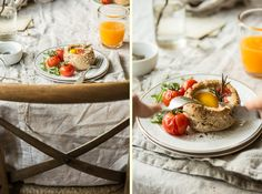 Breakfast bread bowls with eggs.Bea's cookbook-food photography & styling.