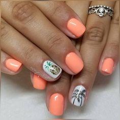 🧡🧡🍍🌴 @jackie_minniti . . •@wavegelusa • Candylicious• . #summernails #pineapplenails #palmtreenails #gelmanicure #gelmani #gel #gels… Pineapple Nail Design, Pineapple Nails, Hawaii Nails, Beach Nails, Fancy Nails, Cute Nails, Coral Gel Nails, Nail Designa, August Nails