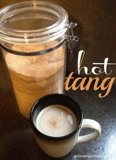 Ingredients: 2 Cups Tang 2 Cups Sugar 1/2 Cup Instant Tea 2 Packages of Lemonade Kool Aid (without sugar) 2 tsp Cinnamon 1/2 tsp cloves  Mix ingredients.  Add desired amount to mug.  Add hot water and stir.  Enjoy!