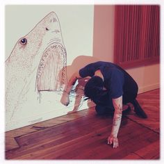 @joeschlaud workin' the line. #feedtheanimalspdx #latecorrection #touched #ink #shark #sharkweek #idlww #gallery135 #firstthursday