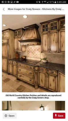 Rustic Kitchen Design, Farmhouse Kitchen Cabinets, Kitchen Redo, Kitchen Ideas, Kitchen Designs, Distressed Kitchen Cabinets, Rustic Design, Cheap Kitchen, Awesome Kitchen