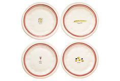 Asst of 4 French Picnic Plates