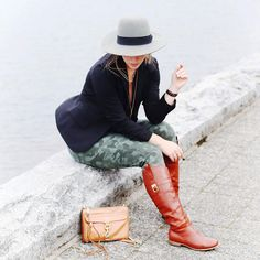 Alexandra G. - Brixton Fedora, Club Monaco Boyfriend Blazer, Joe Fresh Camo Skinny Jeans, Poppy Barley Riding Boots, Rebecca Minkoff Cross Body Bag - Camouflaged | LOOKBOOK