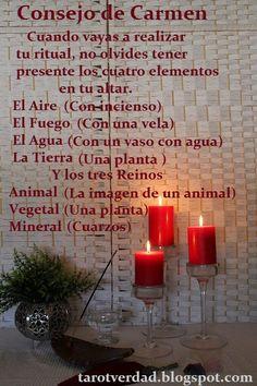 Rituales con Carmen. 954 074 582: Consejo para el altar de un ritual