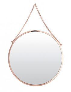 Miroir rond Bolina, Fleux - Le retour du cuivre dans la déco - Elle Décoration