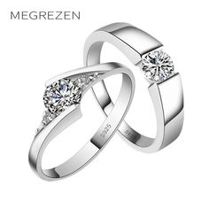 cbb22955181e MEGREZEN Paired Wedding Rings For Two Vintage Silver Plated Ring Costume  Jewelry Rings Anillos Para Las