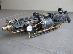 A modified nerf vulcan, modeled after a steam locomotive.