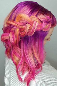 35 Fab Braid Ideas for Short Hair & Tutorials - Frisuren 2019 - Haarfarben Bright Hair, Pastel Hair, Pink Hair, Colorful Hair, Pink And Orange Hair, Pink Yellow, Pink Grey, Orange Ombre, Coral Orange