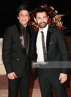 Shahrukh Khan and Aamir Khan at Imran Khan and Avantika Malik's wedding reception party, which was organised by him and Kiran Rao at Taj Lands End in Bandra on February 05, 2011, Mumbai.