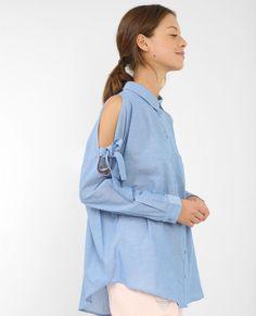 Chemise à épaules dénudées bleu