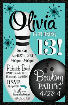 These are Bowling invitations are too cute! They are available at www.delightinvite.com