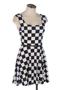 Checker Flag Black and White Checkered Dress Skater Punk 80's Rock new
