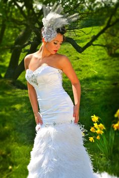 Satin Strapless and Ostrich Feather Fishtail Wedding Dress with Swarovski Crystals Dress Photo One