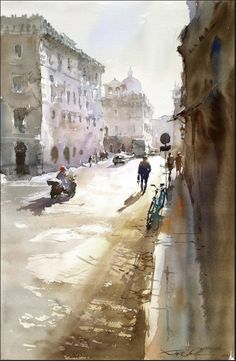 Igor Sava Watercolor Paintings, Watercolors, Urban, Cityscapes, Artists, Natural, Inspiration, Design, Pen And Wash