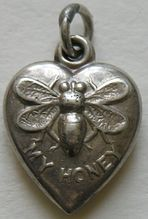 Antique Bee My Honey Sterling Heart Charm Beauty And The Bees, Bee Jewelry, Silver Jewellery, Bee Skep, I Love Bees, My Honey, I Love Heart, Bee Art, Save The Bees