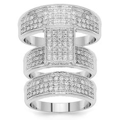 This wedding band set is handcrafted in 10K yellow gold. The center of the engagement ring measures to 3/8 inches in width and the womens wedding band measures to 1/4 inches in width. The ring comes with an additional mens matching wedding band which measures to 5/16 inches in width. Weighing approximately 9.9 grams, this three ring wedding band set is an ideal gift for both him and her. $989.00