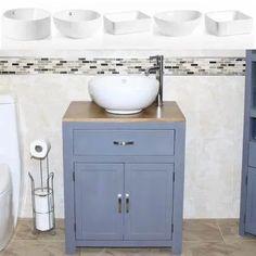 Oak Top Single Basin Vanity Units, Solid Oak Units with Storage Space Cloakroom Sink, Bathroom Sink Cabinets, Bathroom Vanity Units, Bathroom Basin, Bathroom Ideas, Downstairs Bathroom, Bathroom Inspo, Bathroom Designs, Small Basin
