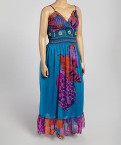 Another great find on #zulily! Magic Turquoise & Purple Floral Sleeveless Maxi Dress - Plus by Magic #zulilyfinds