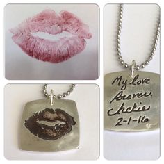 Double sided Silver Kiss Print/Handwriting Necklace or Pendant. Made from your actual kiss print and your actual handwriting by SurfingSilver
