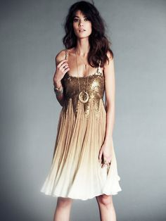 Gold + ombre + sequins = :)  Free People Daydream Supernova Dress