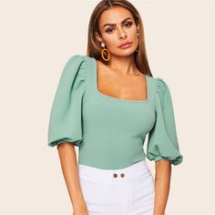 To find out about the Neon Orange Square Neck Puff Sleeve Top at SHEIN, part of our latest Blouses ready to shop online today! Types Of Sleeves, Half Sleeves, Plus Size Women's Tops, Summer Shirts, Cute Tops, Workout Tops, Slim Fit, Alternative Fashion, Blouse Designs
